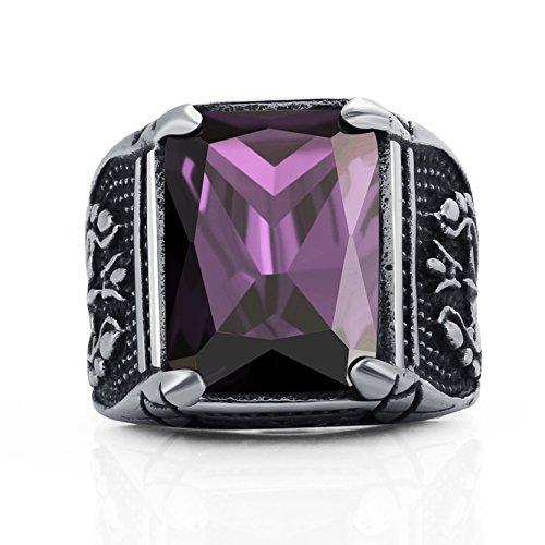 Truteraa - 2019 hochwertige Vintage-CZ-Stein Ringe der Männer Punkart 316L-Edelstahl-Ring für Männer Schmuck Qualitäts-Männer Ring mit Kristall [Lila 10]