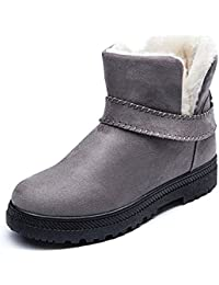 Invierno Calientes Piel Botas de Nieve Slip on de Mujer Impermeable Botines Cómodo Casual Zapatos 35-44 Negro Beige Gris Vino-Rojo