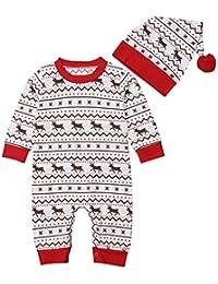 Hawkimin Weihnachten Neugeborenes, Baby Mädchen Hirsch Print Overall Strampler Hut Weihnachten 2 Stücke Kleidung