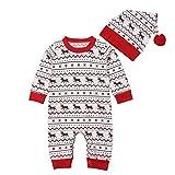 i-uend Baby Pyjamas Sets, Neugeborenes Baby Boy Deer Print Overall Strampler Hut Weihnachten 2 Stücke Kleidung Für 3-24 Monate