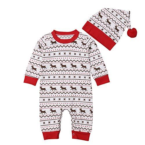 Hawkimin_Babybekleidung Hawkimin Weihnachten Neugeborenes, Baby Mädchen Hirsch Print Overall Strampler Hut Weihnachten 2 Stücke Kleidung