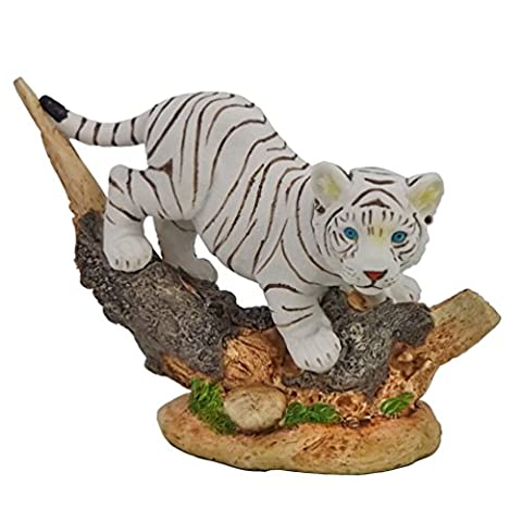 Tiger Baby Katze Tigerfigur weiß Baumstamm Skulptur Deko Tier Figur