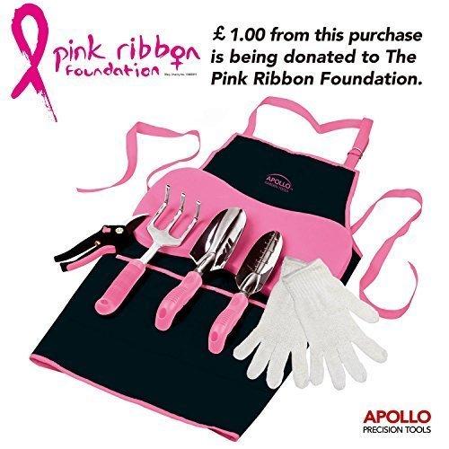 Apollo Kit de 7 piezas de herramientas rosas con podadores, paleta de mano , paleta estrecha, rastrillo de mano, delantal, guantes y rodilleras. Fundido de aleación de aluminio antioxidación - gran Idea de regalo