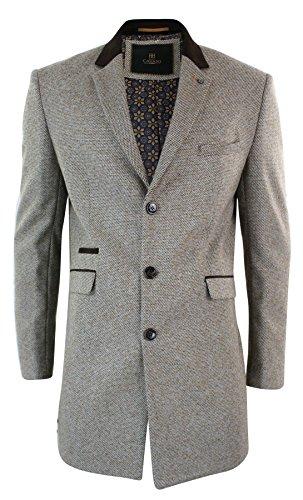 Herrenjacke Tweed Fischgräte Design 3/4 Mantel Braun Grau Tailored Fit