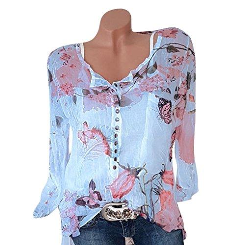 KaloryWee Tops Ladies Women Casual Floral Printed Button T Shirt Chiffon Irregular Hem Top Blouse