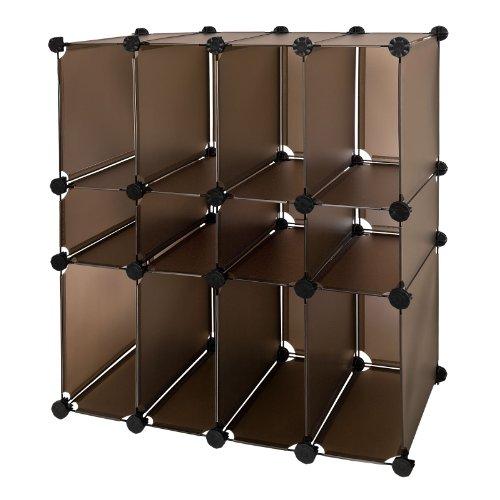SoBuy FSS14, DIY étagère de rangement modulable plastique cadre en métal, Armoire, Cube de rangement, 12 Cubes