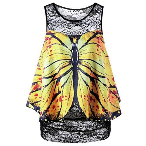 OSYARD Damen Schmetterlings Druck Spitze ärmellose Bluse Spitze Weste Oben zufälliges Behälter T-Shirt(EU 42/M, Gelb)