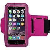 COOSA Smartphone brazal de los deportes y la titular de la clave para Apple Iphone5 / 5S y otros similares Tamaño teléfonos inteligentes, con la correa de velcro ajustable para Correr, Ciclismo, Una Buena Condición, etc. (rojo rosa)