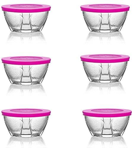 Lav 12 pièces Design Bol Verre Burak avec couvercle Petit Déjeuner Stix Coque 200 ml