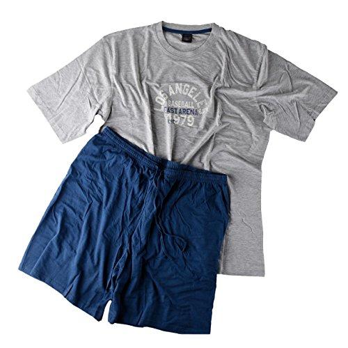 Herren Pyjama Shorty T-Shirt mit Shorts für den kräftigen Mann in 2 Farbvariationen Größen XXL - 5XL (3XL, Grau Melange)
