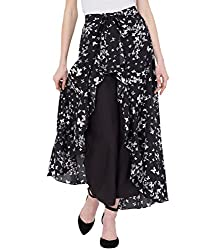 American-Elm Womens Black Stylish Printed Ruffle Palazzo