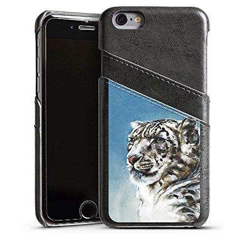 Apple iPhone 4 Housse Étui Silicone Coque Protection Panthère des neiges Léopard Neige Étui en cuir gris