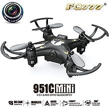 RC, Mini Drone Radio Control Remoto Quadcopter FQ777 951C 2.4G 4CH 6-Axis Gyro 0.3MP Cámara RTF Quadcopter Avión,Black