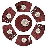 Shacos Lot de 7 Sets de Table Ronde 13 Pouces Coussinets Napperons de Table Coins 70% PVC 30% Polyesters de Table résistants à la Chaleur Lavable(Rouge, 7)