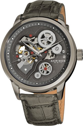 Akribos XXIV AK538GY Orologio da Polso Automatico da Uomo, Cinturino in Pelle, Grigio