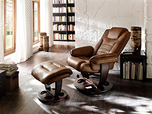 Relaxsessel mit Hocker Lesesessel Sessel Fernsehsessel Leder Braun