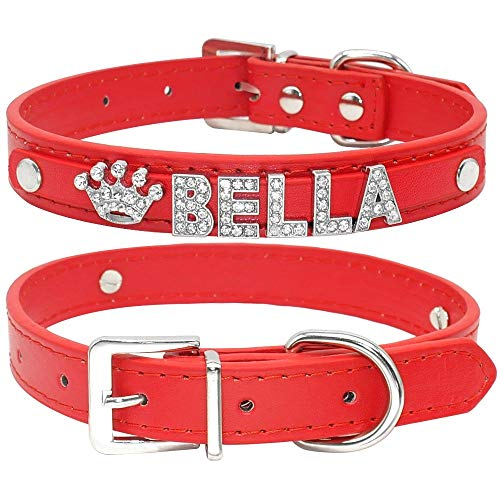 WXPC Bling Strass Hündchen Halsbänder Personalisierte Kleine Hunde Chihuahua Halsband Benutzerdefinierte Halskette Freier Name Charms Haustier Zubehör Rot, XS -