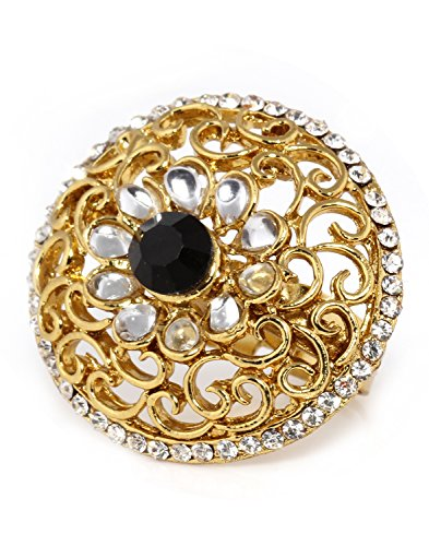 Bindhani Traditional & Ethnic Gold Plated Kundan Finger Ring For Women (Adjustable, Black)  available at amazon for Rs.186