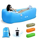 Inflatable Lounger, SLB 3.0 Waterproof Air lounger with Headrest, Leak-proof Design, Portable Air Sofa Couch, Fast Inflating Air Bed, Ideal Lazy Lounger for Backyard/Pool/Beach/Camping/Picnics/Travel/Music Festival - Hold Up To 500lbs(Blue)