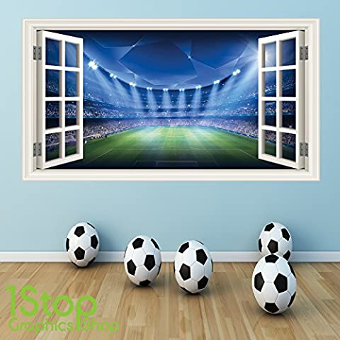 FOOTBALL WALL STICKER FULL COLOUR - GIRLS BOYS BEDROOM STADIUM WINDOW W45 Size: Large