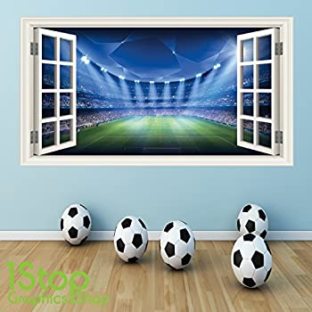 FOOTBALL WALL STICKER FULL COLOUR   GIRLS BOYS BEDROOM STADIUM WINDOW W45  Size: Large