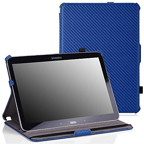 MoKo Etui Samsung GALAXY Tab 4 10.1 - Etui fin avec suppport multi-angles pour Samsung GALAXY Tab 4 de 10.1 Pouces, Carbon Fiber BLEU (Avec couverture intelligente réveil/sommeil automatique )