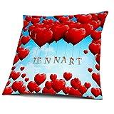 Kissen mit Füllung, Motiv Herzballons mit Name Lennart, vollflächig bedruckt 40 x 40 cm, Namenskissen, Geschenkidee