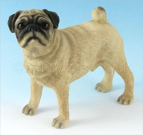 Leonardo Collection Pug Fawn Ornament Dog, Stone,