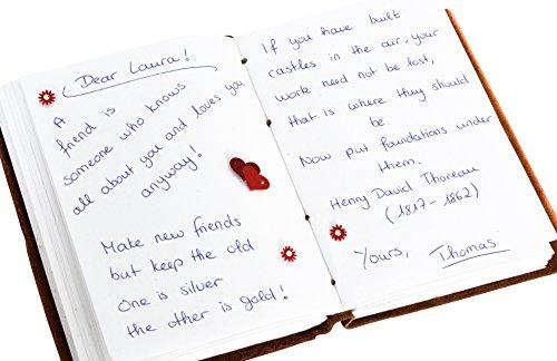 Gusti Leder studio ''Jenna'' libro di pelle agenda diario DIN D6 per foto appunti Università Ufficio marrone 2P14-24-3