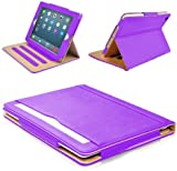 MOFRED Purple & Tan Apple iPad Air (Released November 2013) Leather Case-MOFRED- Executive Multi Function Leather Standby Case for Apple New iPad Air with Built-in magnet for Sleep & Awake Feature