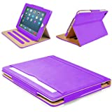 "MOFRED® Purple & Tan Apple iPad Air 2 (Launched Oct. 2014) Leather Case-MOFRED®- Executive Multi Function Leather Standby Case for Apple New iPad Air 2 with Built-in magnet for Sleep & Awake Feature -- Independently Voted by ""The Daily Telegraph"" as #1 iPad Air 2 Case!"