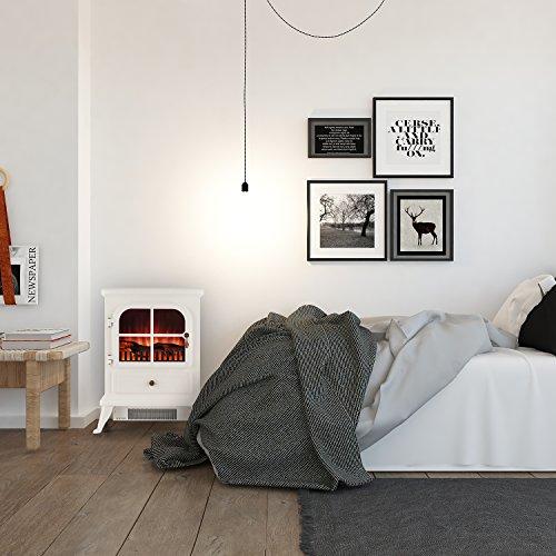 Klarstein St. Moritz • Chimenea eléctrica • Chimenea virtual • calefactor • Calefacción • independiente del calefactor • 1850 W • termostato ajustable • libre de fuego y humo • leña decorativa • ilusión de llamas • intensidad de luz ajustable • libre de humo • blanco