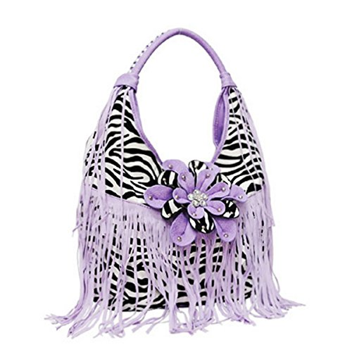 Blancho Bedding Zebra Fringe Flower Handbag LAVANDA BAG-LAVENDER