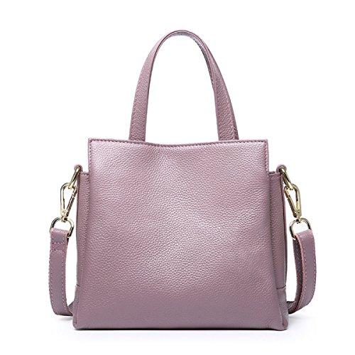 ZPFME Womens Handtasche Leder Handtaschen Lässig Einfach Handtasche Leder Drei Fach Mädchen Party Retro Damen Mode Damen Tasche Grey