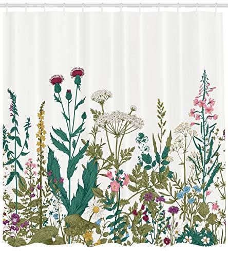 ABAKUHAUS Frühling Duschvorhang, Wildblumen-Arrangement, mit 12 Ringe Set Wasserdicht Stielvoll Modern Farbfest und Schimmel Resistent, 175x200 cm, Mehrfarbig (Frühling Arrangement)