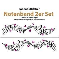 Auto Aufkleber/Sticker ***Notenband mit Schmetterlingen DESIGN 01 *** - (Größen und Farbauswahl)