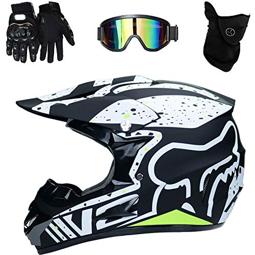 C-TK Motorradhelm Offroad, ATV, ADV, UTV, Baja, Go-Kart Ergonomie Low Drag Coefficient Breathable Safety Helm inklusive Goggles/Gloves/Masks,17,M(54~55cm)