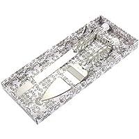 Juvale Silver Cake Server Set – Cuchillo de Boda de Acero Inoxidable con Diamantes, Cristales, Cinta Envuelta Alrededor del Mango
