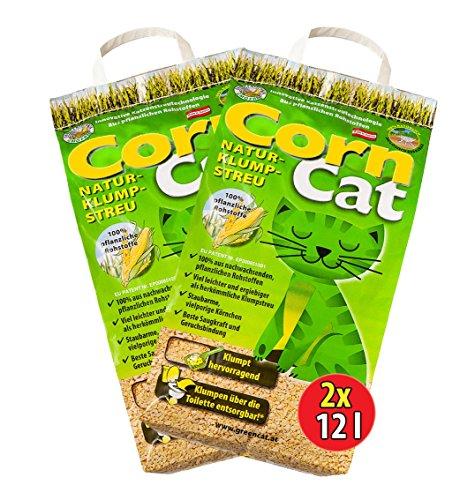 2x12 =24 Liter CORNCAT ÖKO-PLUS NATURSTREU GREEN CAT`S KATZENSTREU - BEST STREU GREEN CAT - kostenloser Versand innerhalb Deutschlands (außer Inseln)