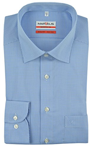 MARVELIS Modern Fit Hemd Langarm New Kent Karo blau Mittelblau