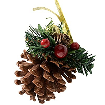 Decorated Pine Cone Christmas Decoration - Pack of 5
