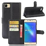 VIFLYKOO Custodia Asus Zenfone 3S Max ZC521TL Case, Flip Cover in Pelle PU Case Portafoglio con Built-in Card Slot per Asus Zenfone 3S Max ZC521TL Smartphone Cover - Nero