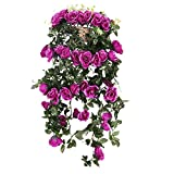 European Style Artificial Silk Rose Flower Home Wedding Wall Hanging Decor 7 Color - purple, Full