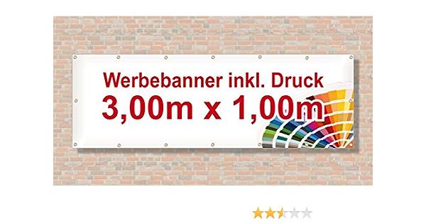 Werbebanner Werbeplane Banner PVC Plane 100x300 cm inkl Design prof