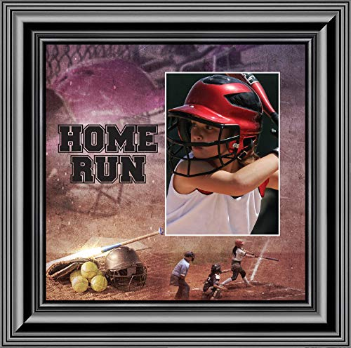 e Run 6365 Bilderrahmen, Softball-Design, 25,4 x 25,4 cm 10x10 schwarz ()