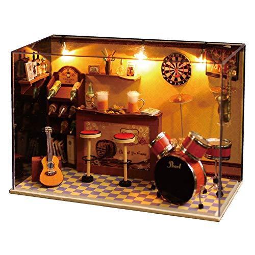 jeffergrill 3d diy kits de casa de muñecas de madera en miniatura modelo house modern mini bar con plástico y madera para juguetes o exposiciones