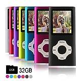 Ueleknight MP3-Player MP4-Player mit Einer 32G Micro SD-Karte, Wiedergabe 16GB Musik-Player Hi-Fi-Sound, tragbarer Digitaler Musik-Player mit FM-Radio und Voice Recorder Funktion-Schwarz