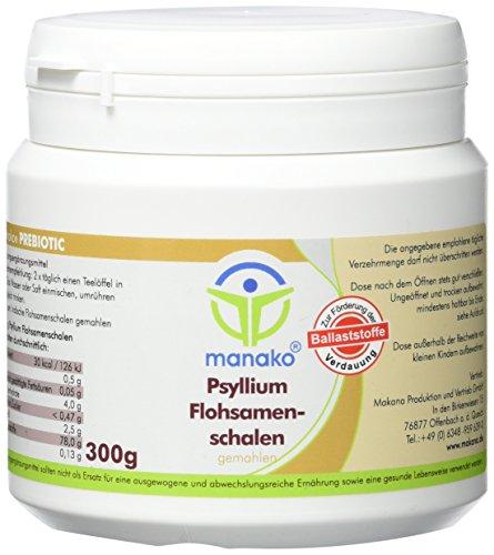 manako Flohsamenschalen, fein gemahlen, prebiotisch, 300 g Dose (1 x 0,3 kg)