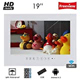 Wasserdichter Badezimmer-Fernseher von Soulaca, 19-Zoll, mit stylischer Weiß-Front, kompatibel mit Online-TV, Amazon Fire, mit Wi-Fi