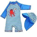FAIRYRAIN Kinder Mädchen JungenSunsuit Sonnenschutz Alles in eins Badeanzug Bademode Einteiler UPF 50+ UV Schützend Schwimmanzug mit Sonnenhut